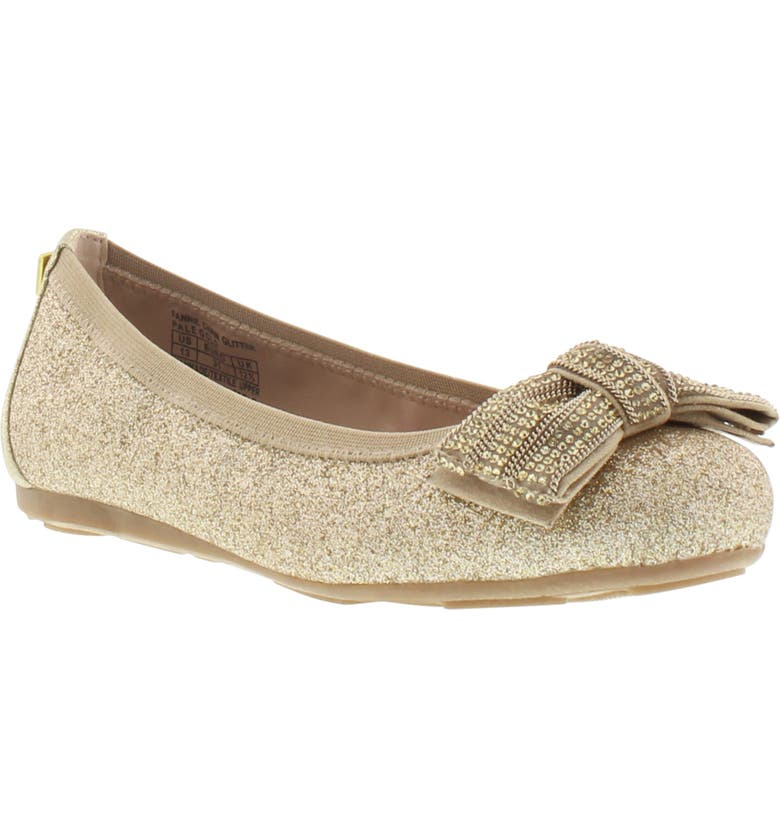 STUART WEITZMAN Fannie Chain Glitter Ballet Flat, Main, color, PALE GOLD