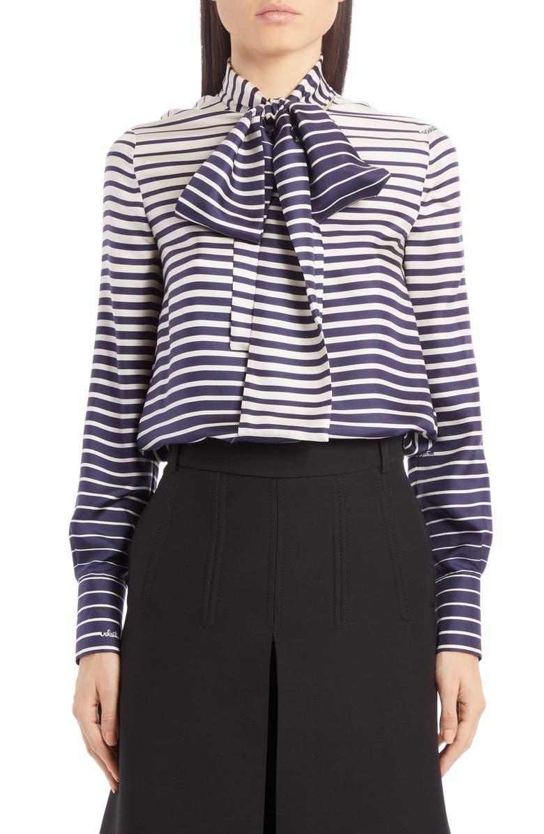 VALENTINO Stripe Tie Neck Silk Blouse, Main, color, AVORIO/ NAVY