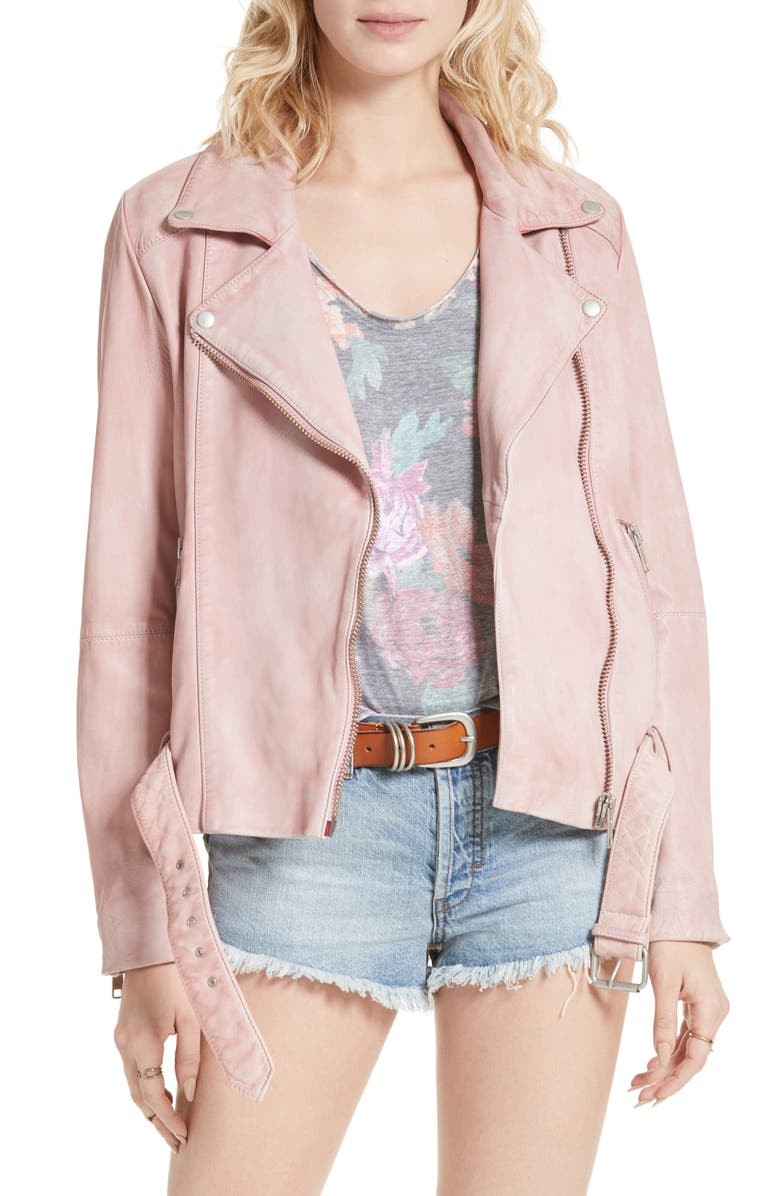 FREE PEOPLE Leather Moto Jacket, Main, color, 650