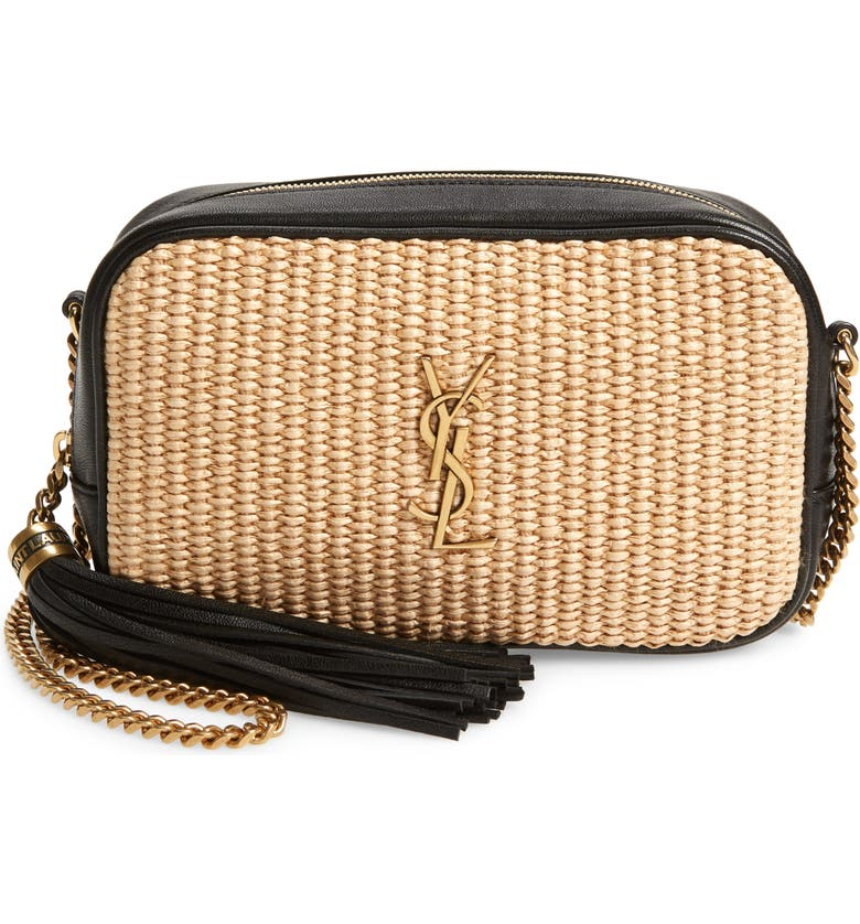 SAINT LAURENT Mini Lou Raffia Camera Bag, Main, color, NATURAL/ BEIGE/ NOIR