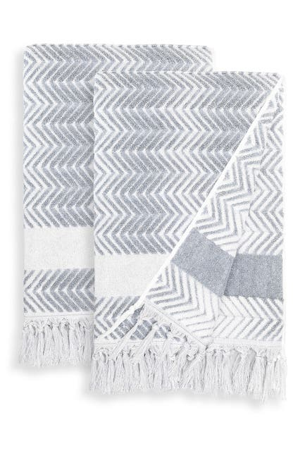 Image of LINUM HOME Dusty Blue Assos Bath Towels - Set of 2