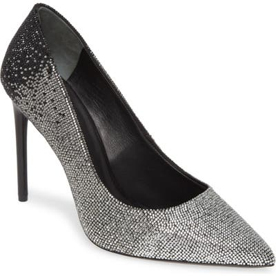 Alice + Olivia Calliey Ombre Crystal Pointed Toe Pump, Black