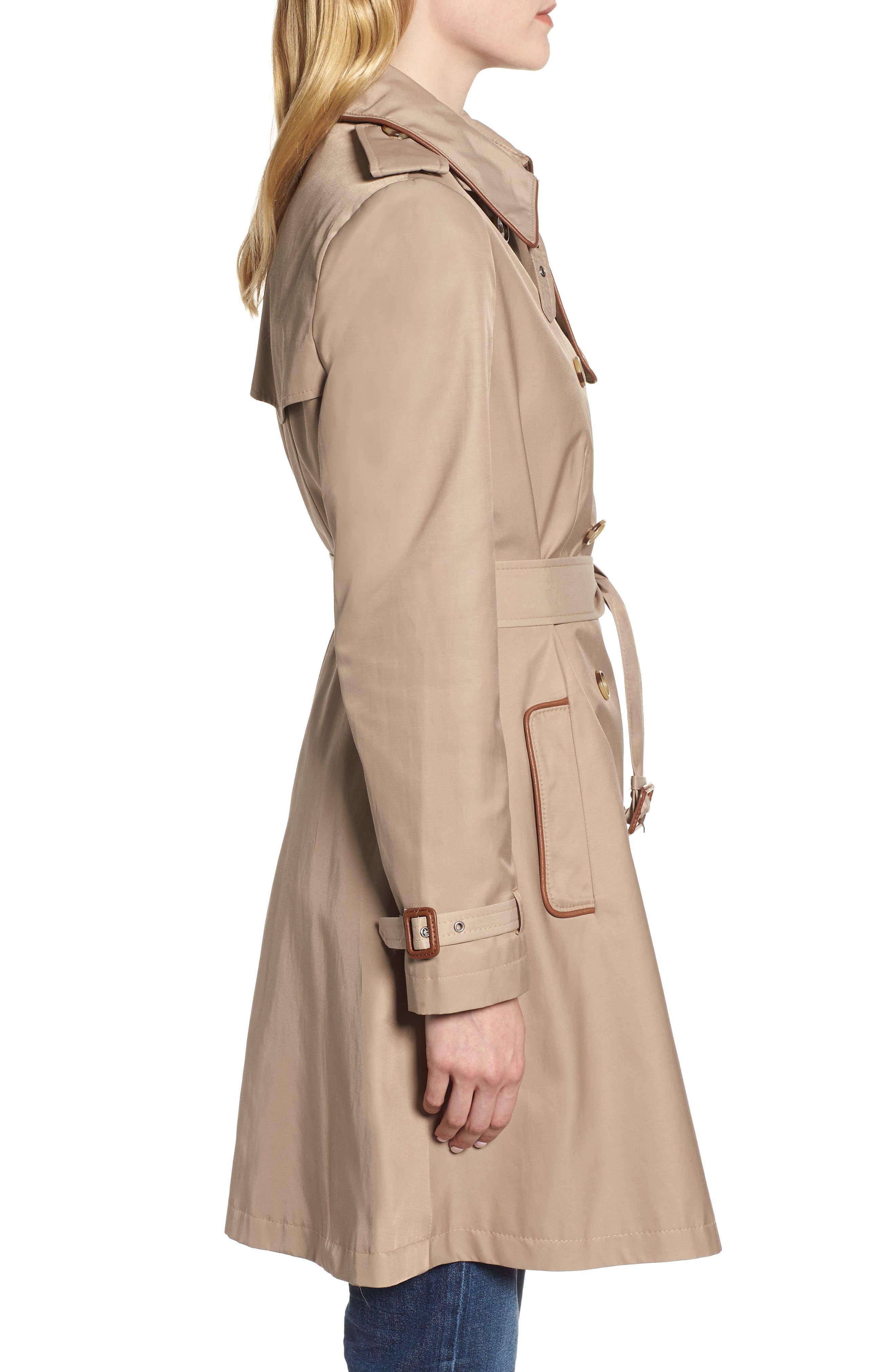 ,                             Faux Leather Trim Trench Coat,                             Alternate thumbnail 3, color,                             262