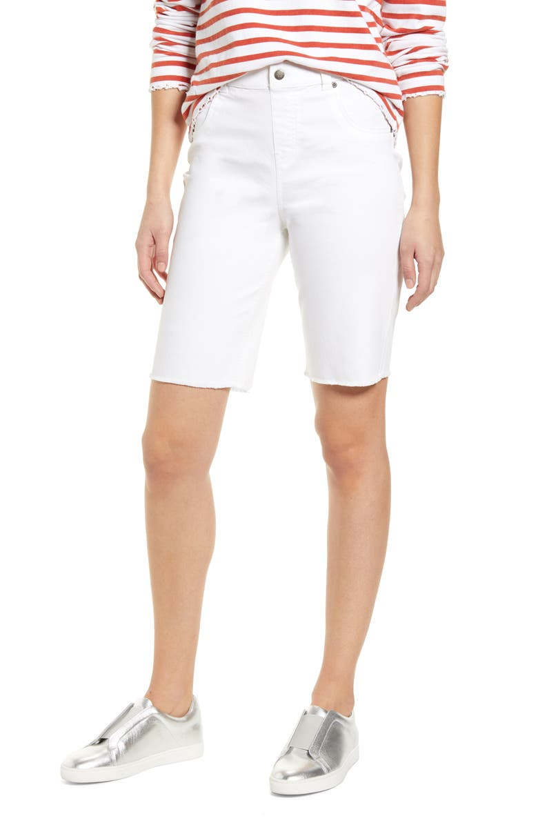 HUE High Waist Bermuda Shorts, Main, color, WHITE