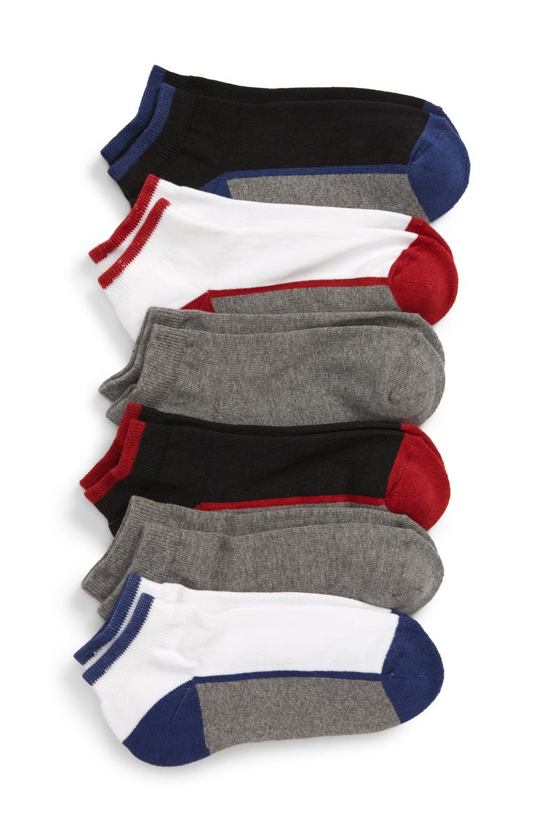 TUCKER + TATE 6-Pack Active Quarter Socks, Main, color, RED CHILI BLACK MULTI