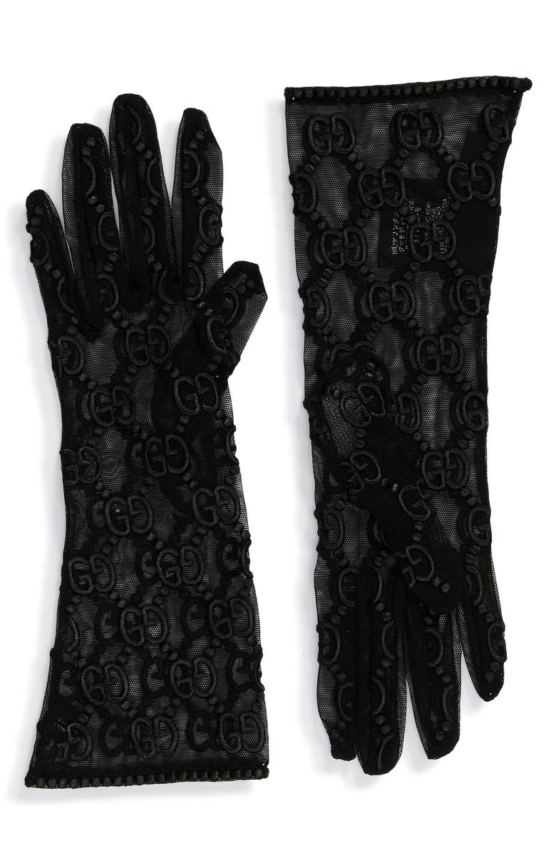 GUCCI GG Embroidery Lace Tulle Gloves, Main, color, BLACK