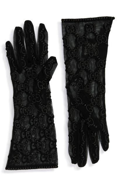 Gucci Gg Embroidery Lace Tulle Gloves In Black