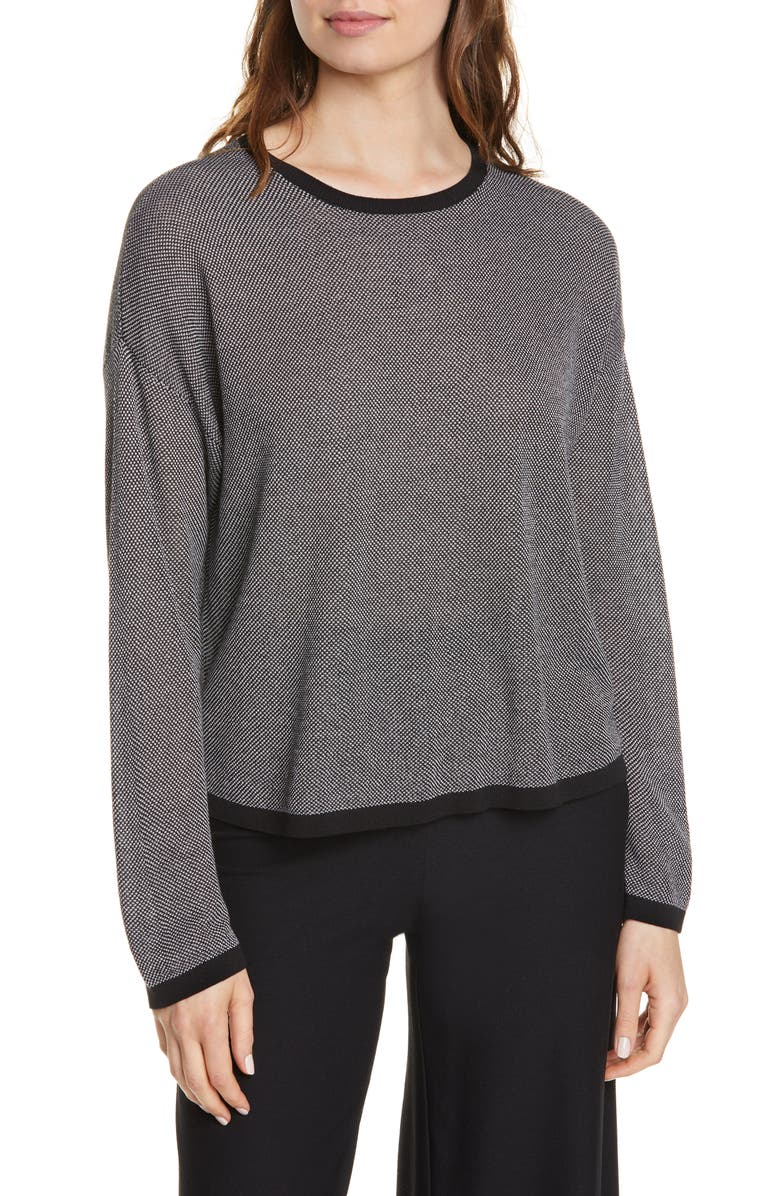 EILEEN FISHER Crewneck Sweater, Main, color, BLACK/ BONE
