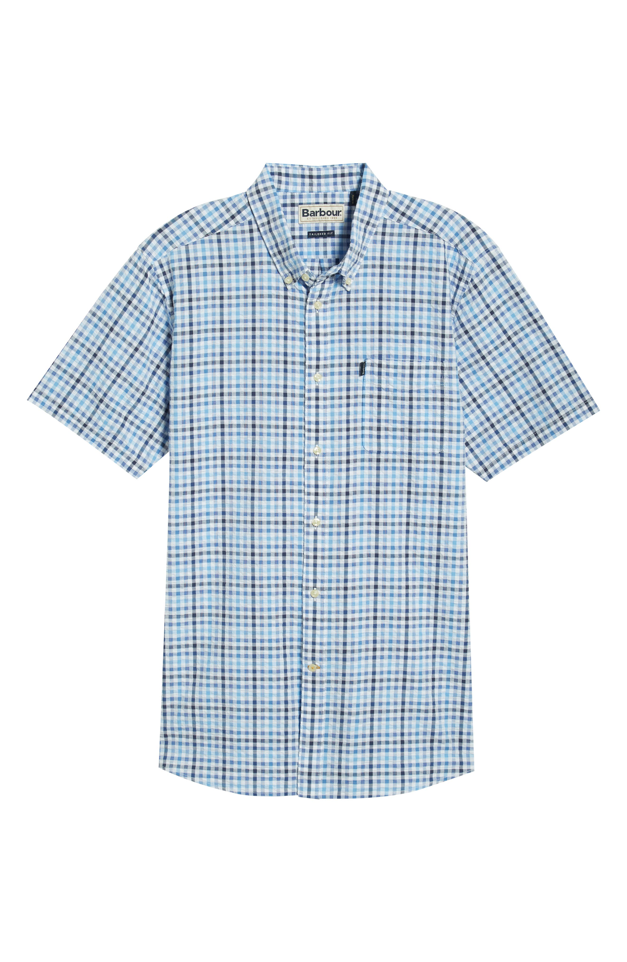,                             Tailored Fit Check Seersucker Woven Shirt,                             Alternate thumbnail 5, color,                             NAVY