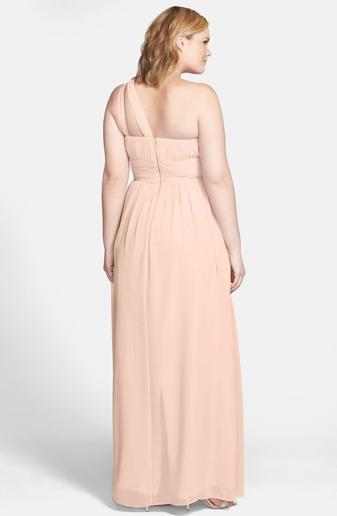 ,                             'Rachel' Ruched One-Shoulder Chiffon Gown,                             Alternate thumbnail 138, color,                             900