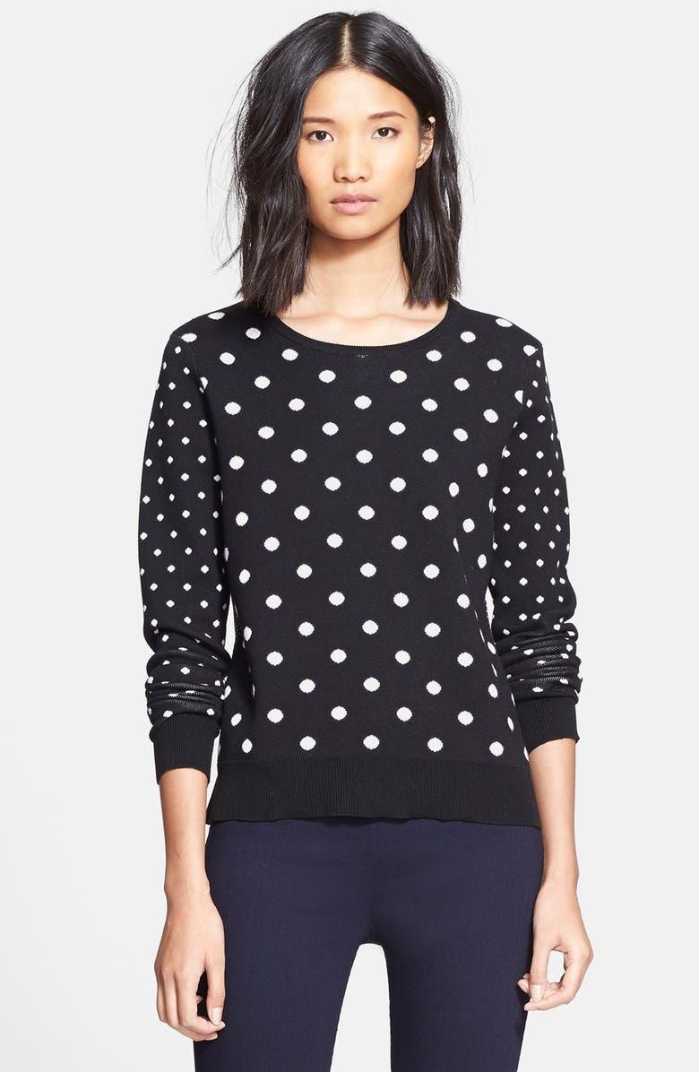 VERONICA BEARD Polka Dot Sweater with Shirttail Hem, Main, color, 001