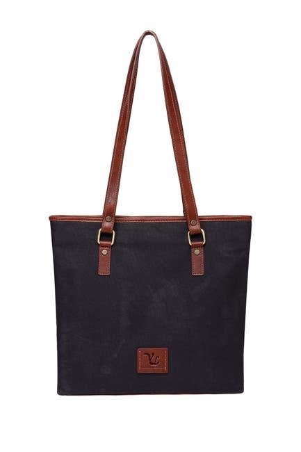 Image of Vicenzo Leather Siena Canvas Leather Handbag Tote Bag