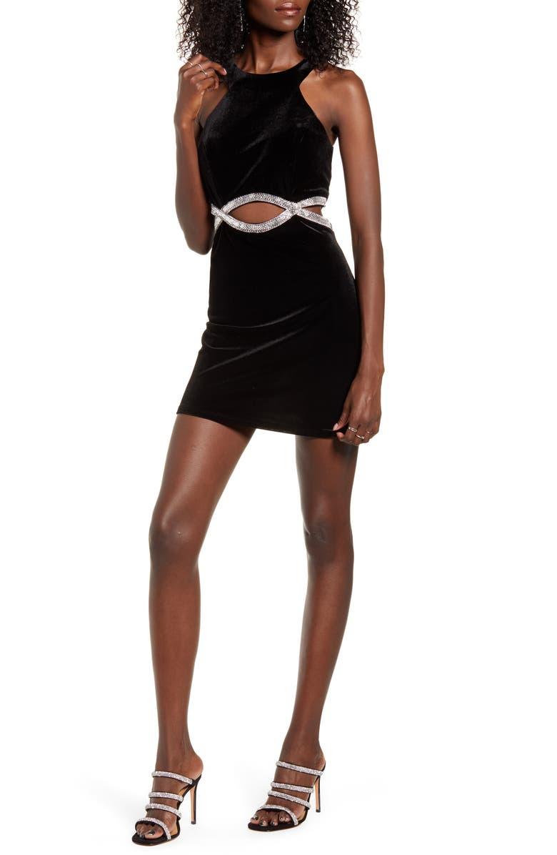 SPEECHLESS Infinity Waist Sleeveless Body-Con Velvet Dress, Main, color, BLACK