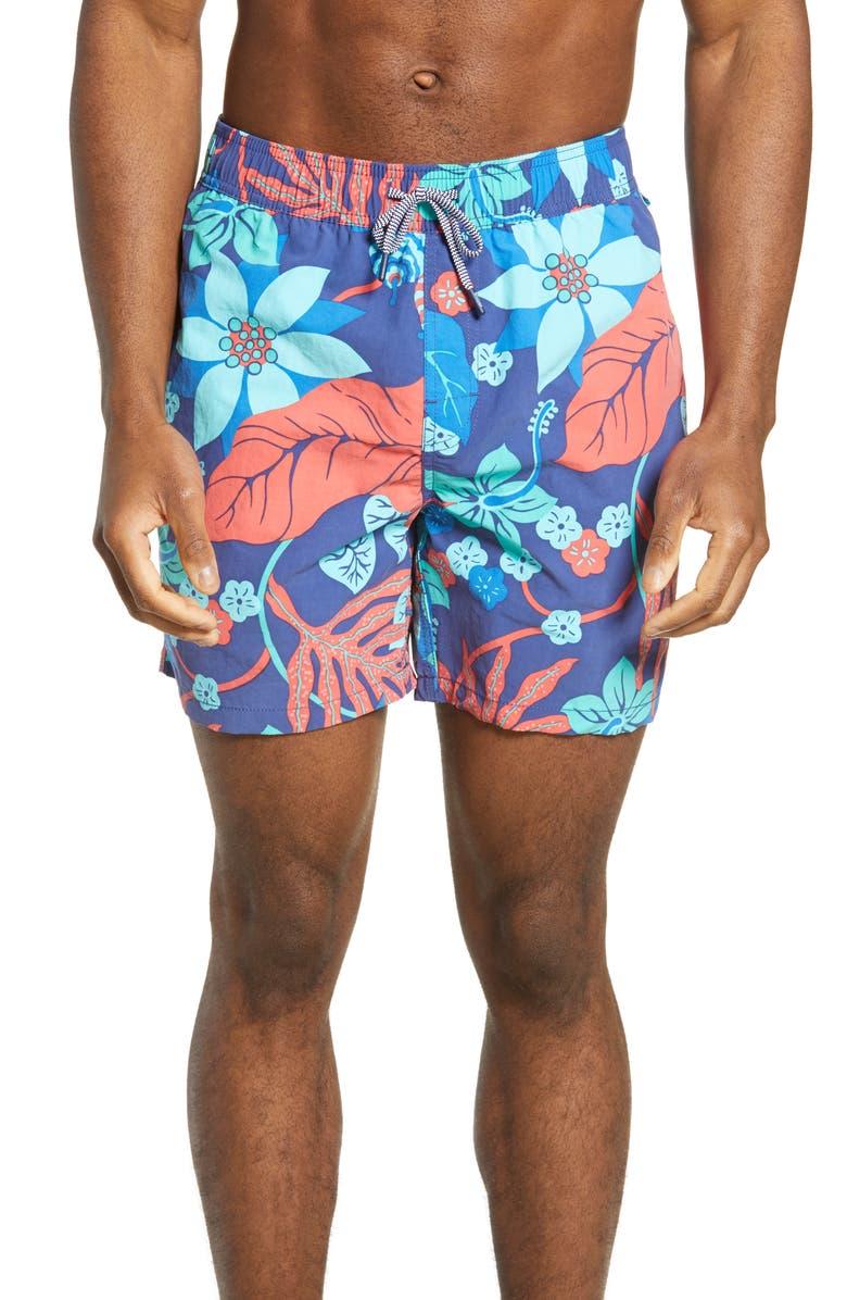 REYN SPOONER San Clemente Swim Trunks, Main, color, DAPHNE