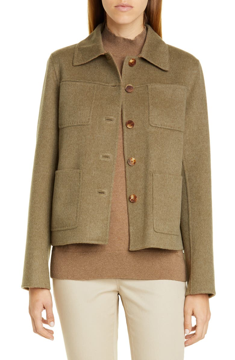 LAFAYETTE 148 NEW YORK Tomasa Double Face Jacket, Main, color, SAGEBRUSH/ CAMMELLO