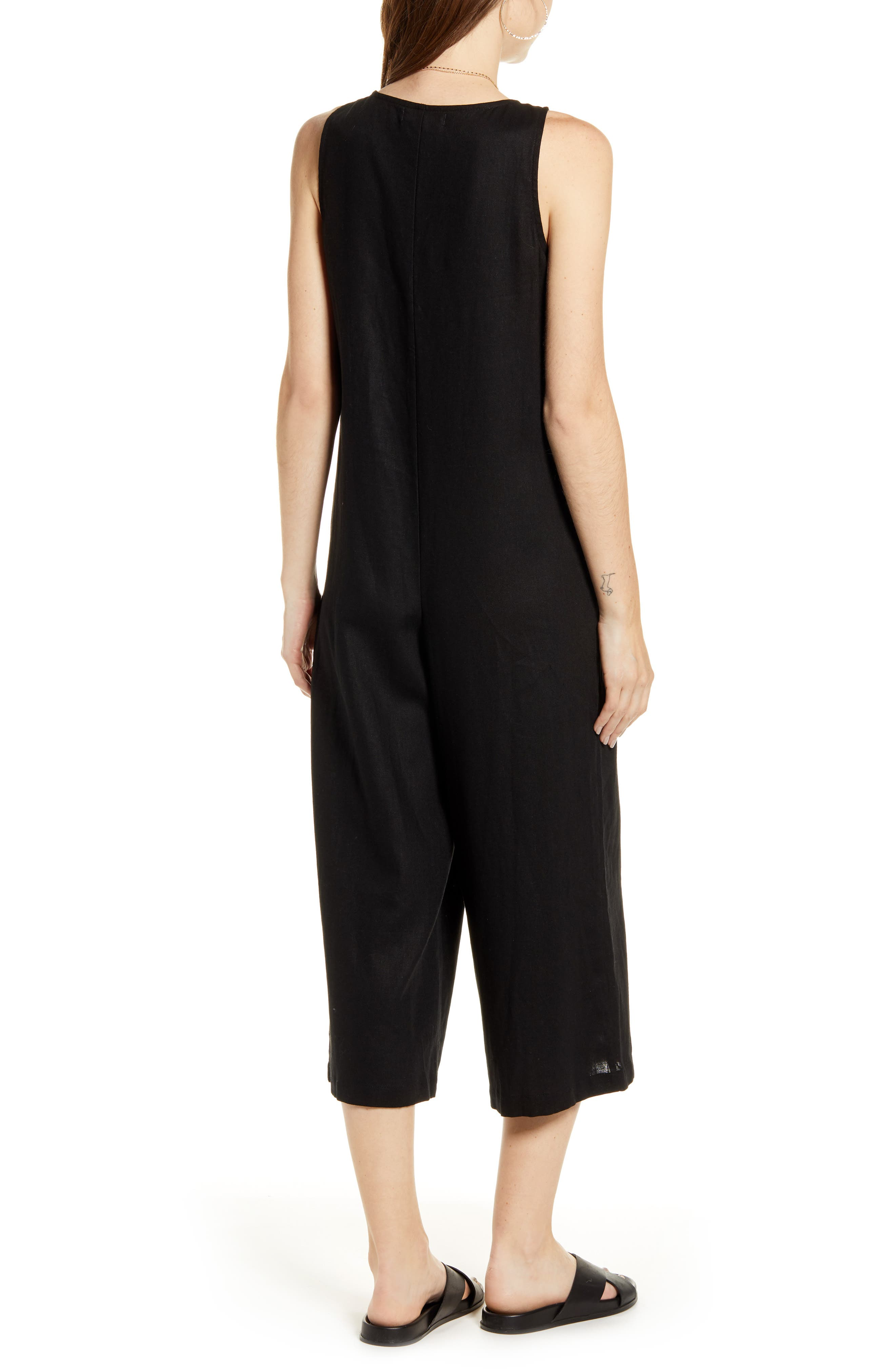 ,                             Button Front Jumpsuit,                             Alternate thumbnail 2, color,                             BLACK