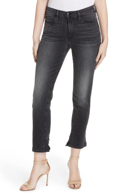 Image of FRAME Le Nouveau Caved Hem Crop Straight Leg Jeans