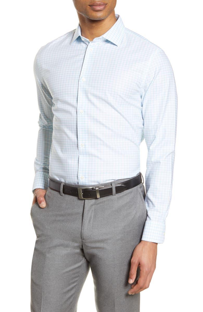 NORDSTROM MEN'S SHOP Extra Trim Fit Non-Iron Check Dress Shirt, Main, color, 450