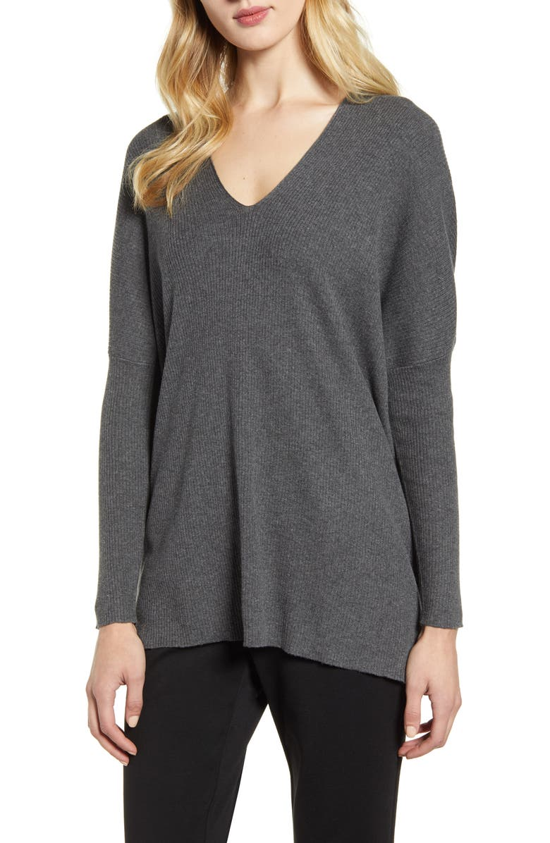 ANNE KLEIN Rib V-Neck Sweater, Main, color, DARK HEATHER GREY