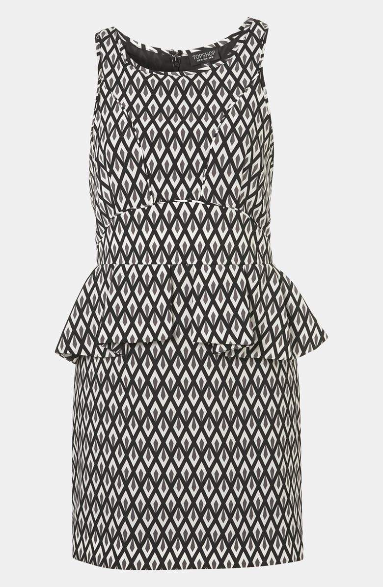 TOPSHOP Geo Print Peplum Dress, Main, color, 001