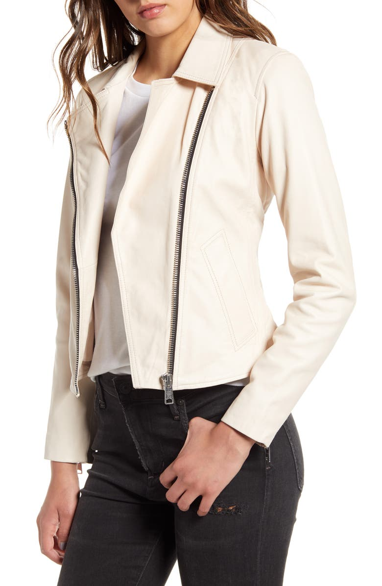 ALLSAINTS Vela Leather Biker Jacket, Main, color, NUDE PINK
