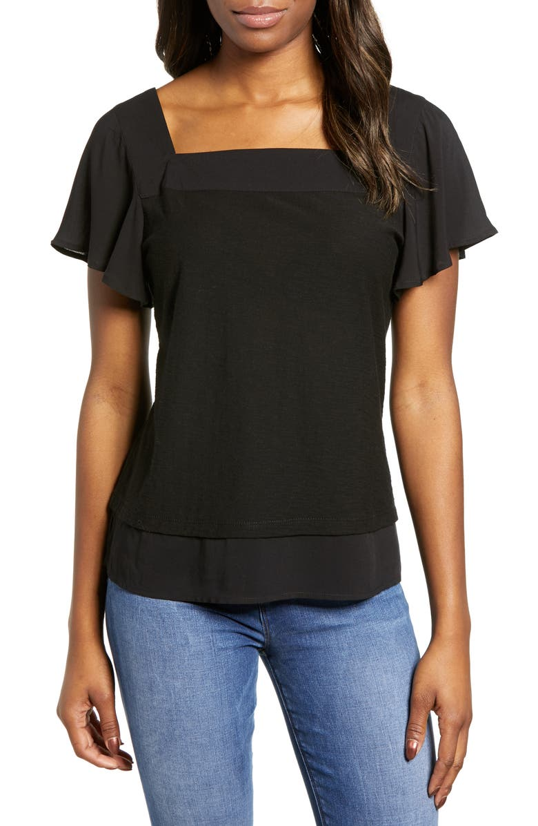VINCE CAMUTO Layered Look Flutter Sleeve Top, Main, color, 006