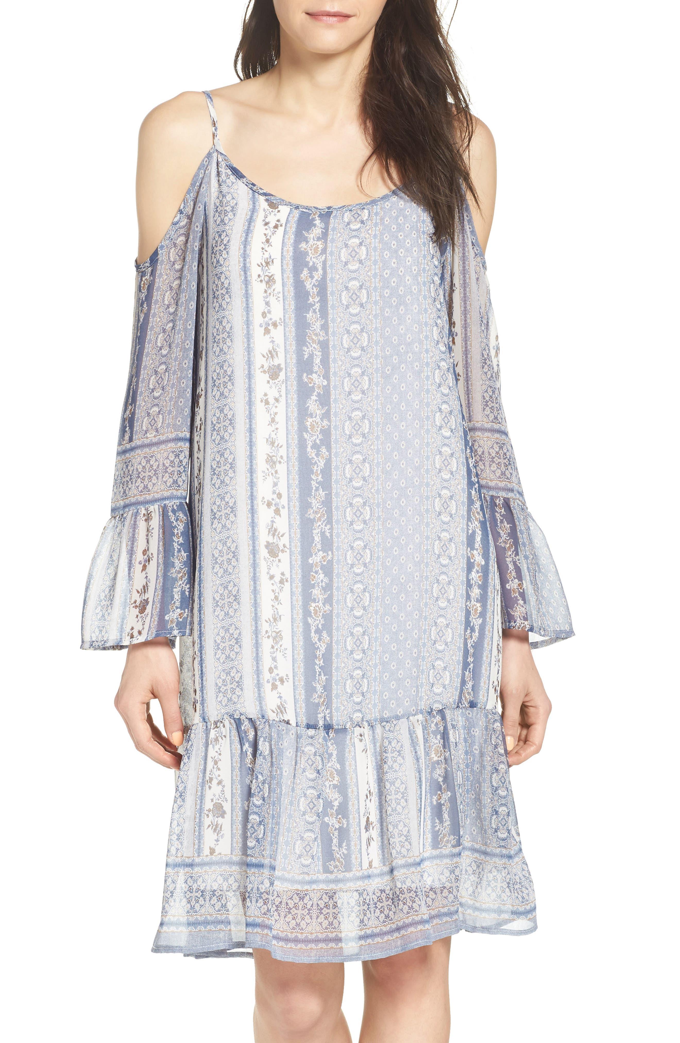 Image of Fraiche By J Printed Cold Shoulder Shift Dress