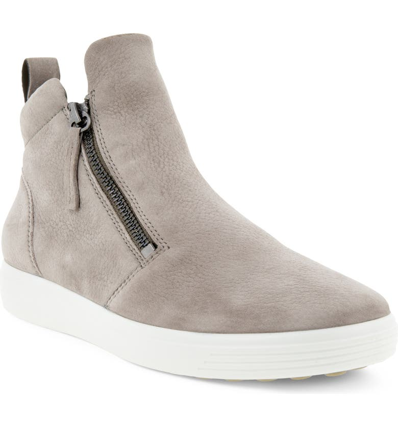 ECCO Soft 7 Mid Top Sneaker, Main, color, WARM GREY LEATHER