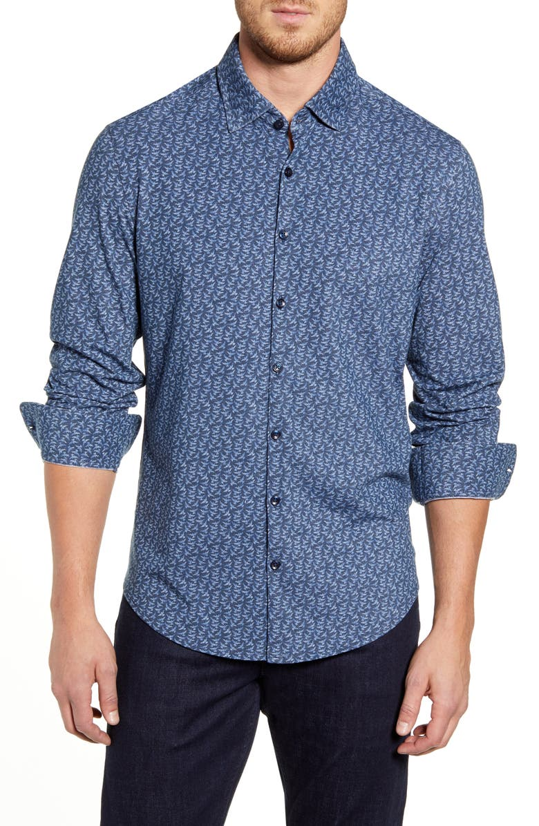STONE ROSE Regular Fit Button-Up Shirt, Main, color, NAVY