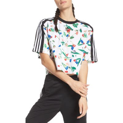 Adidas Originals Floral Print Crop Tee, White