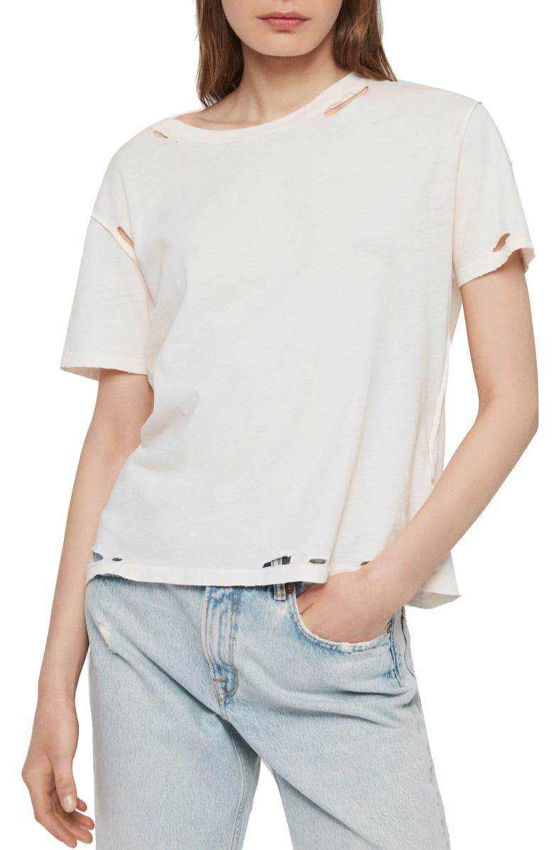 ALLSAINTS Dime Distressed Tee, Main, color, PALE PINK