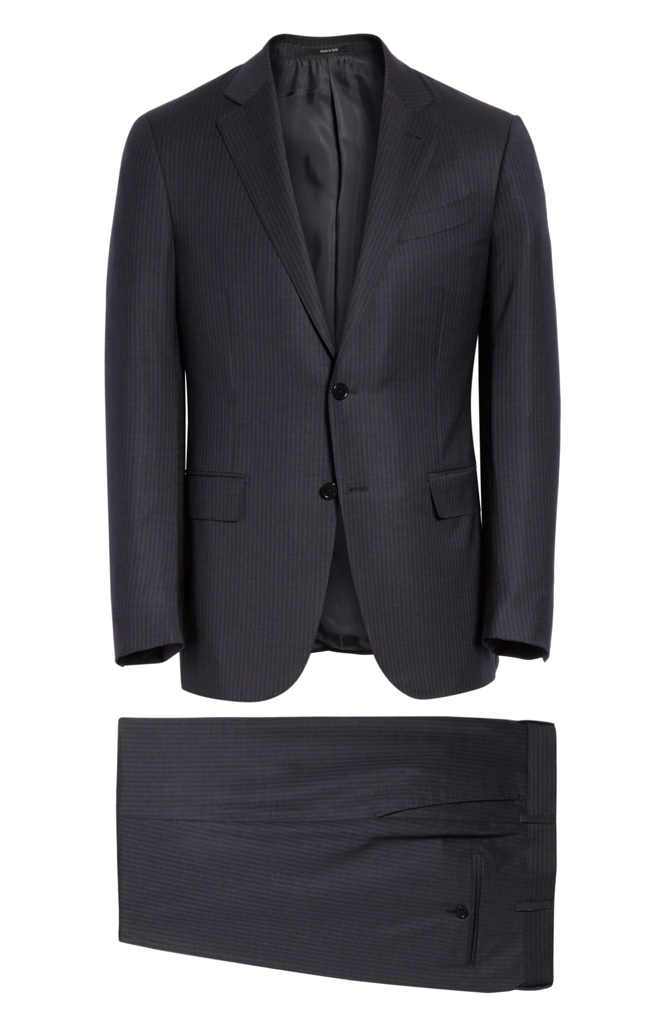 ,                             Milano Classic Fit Stripe Wool Suit,                             Alternate thumbnail 8, color,                             CHARCOAL