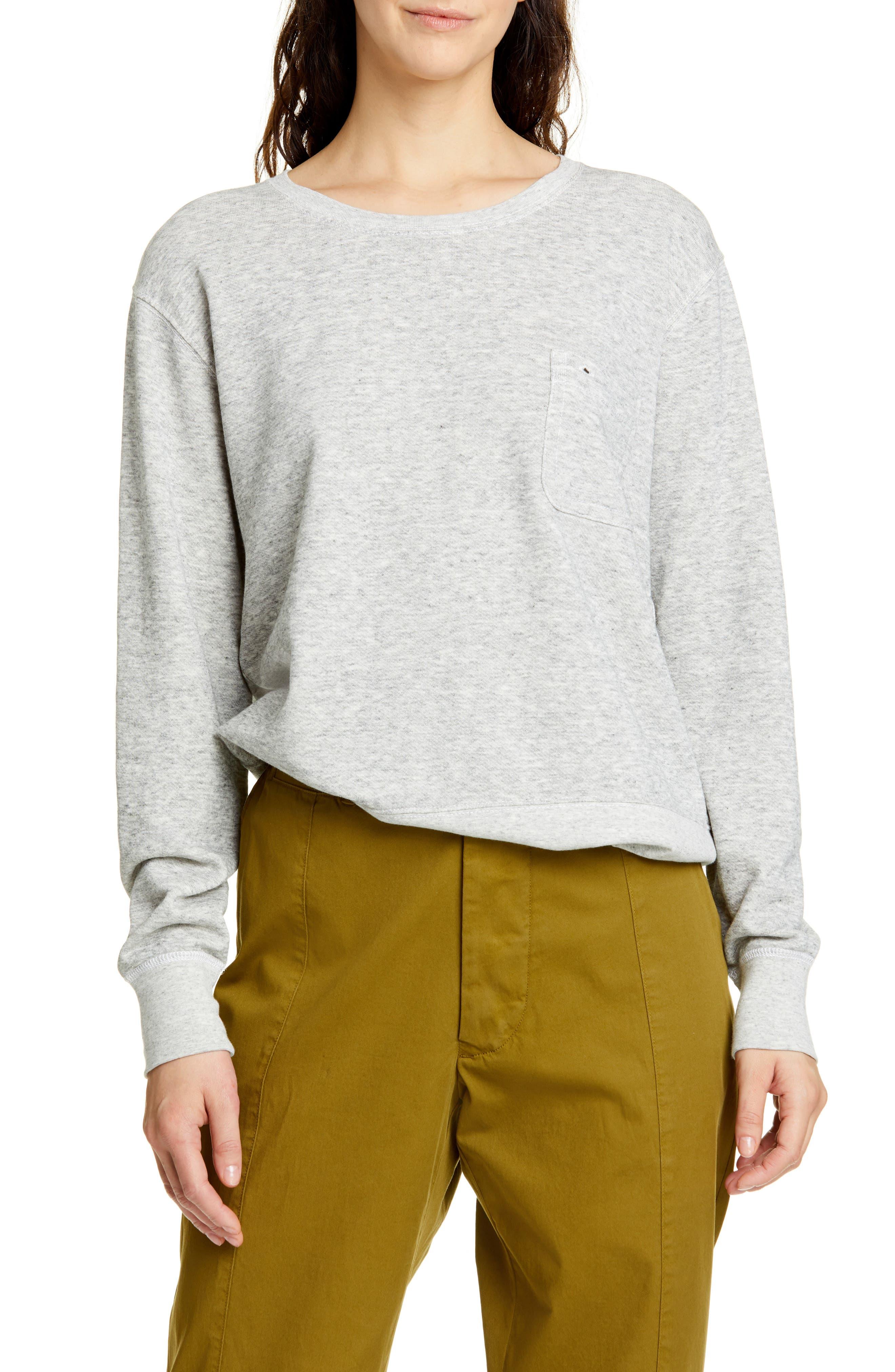 Alex Mill Heather Fleece Pocket Sweatshirt, Grey