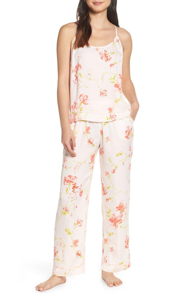 NORDSTROM LINGERIE Sweet Dreams Satin Pajamas, Main, color, PINK HEAVEN OPEN FLORAL