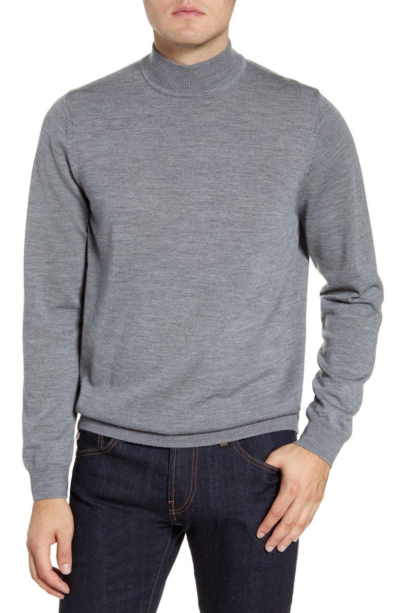 NORDSTROM MEN'S SHOP Mock Neck Merino Wool Sweater, Main, color, GREY SHADE HEATHER