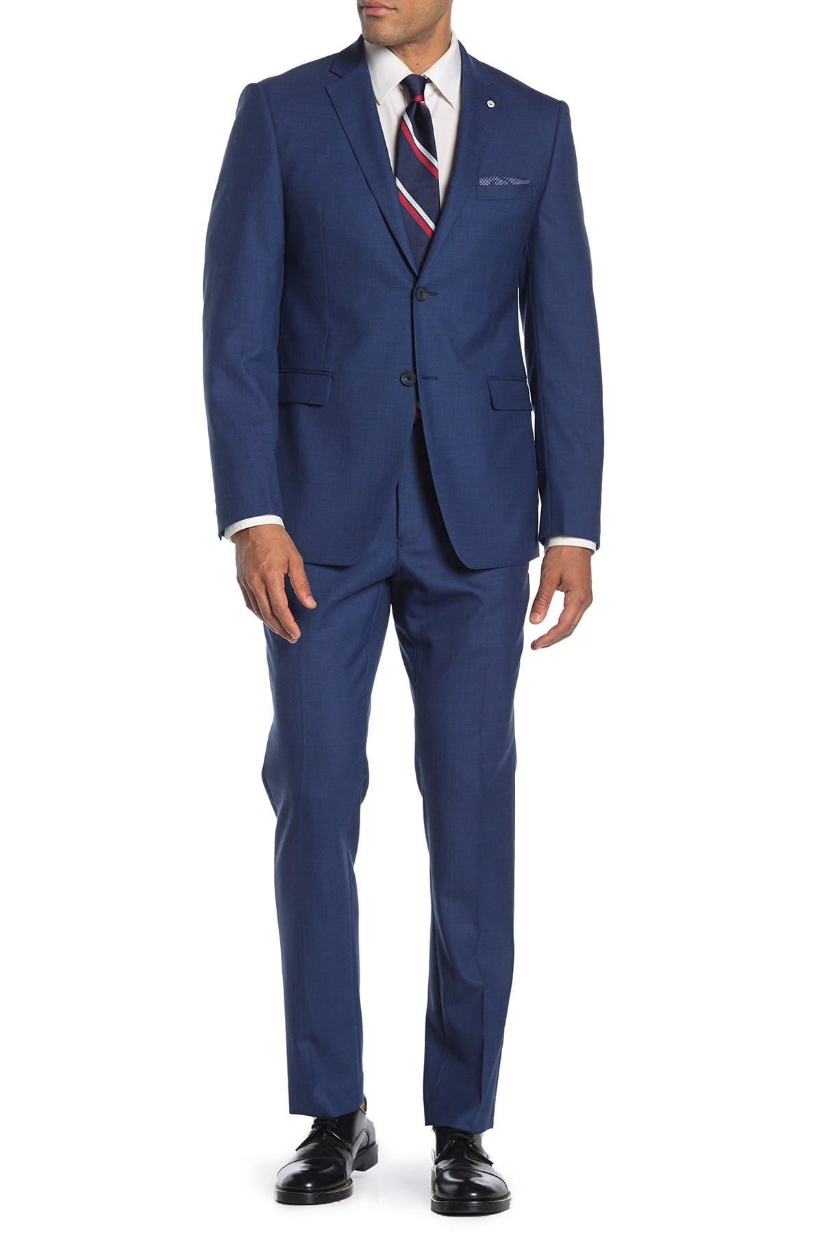 Image of Original Penguin Nested Blue Sharkskin Slim Fit 2-Piece Suit