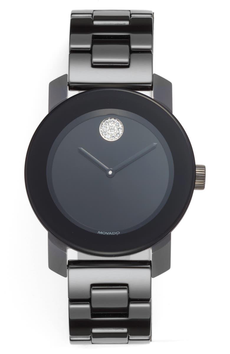 MOVADO Bold Ceramic Bracelet Watch, 36mm, Main, color, BLACK