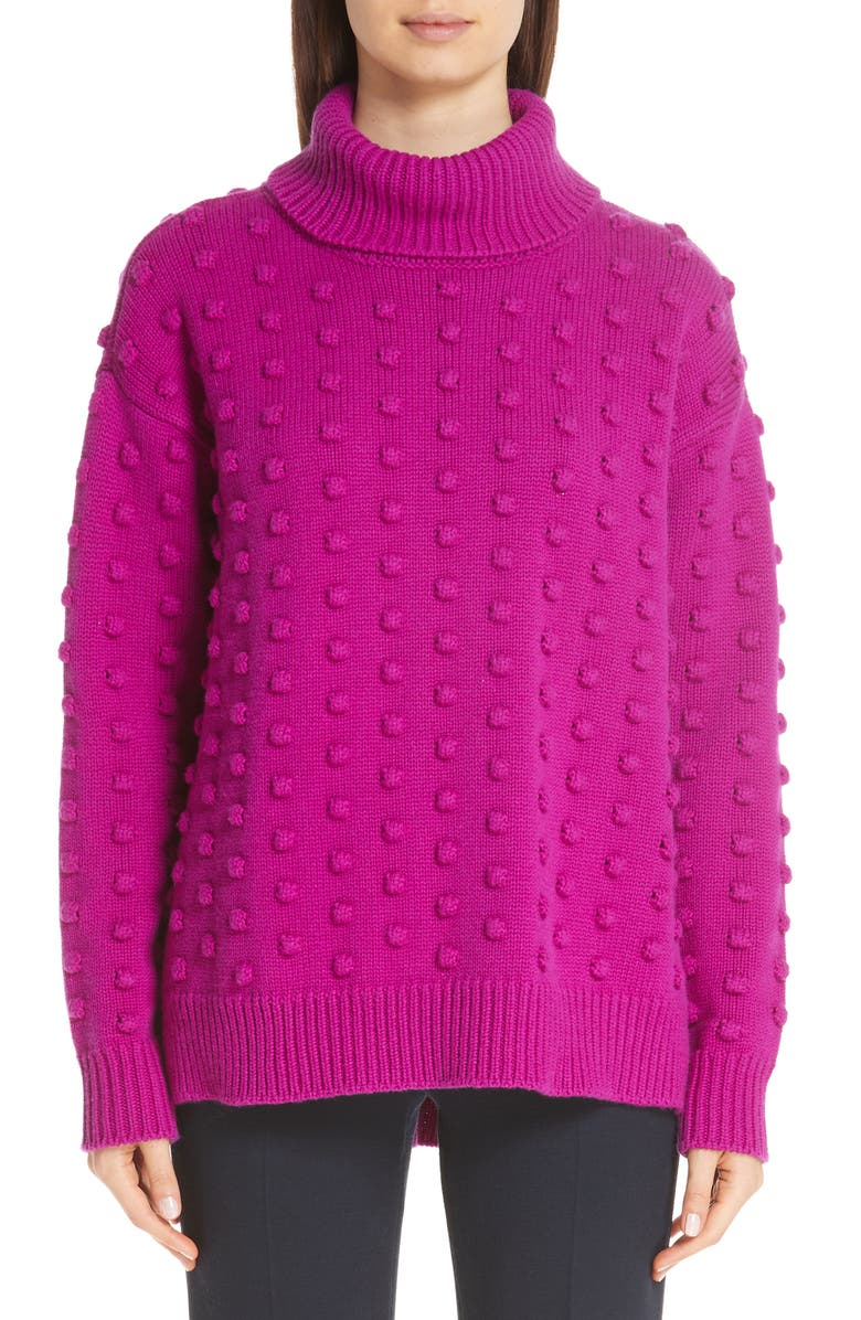 LELA ROSE Dotted Wool & Cashmere Turtleneck Sweater, Main, color, 650