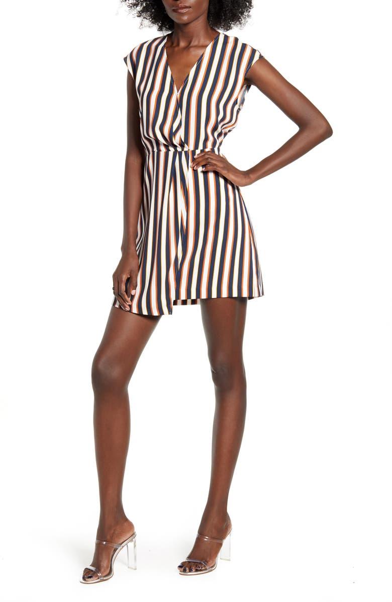 LEITH Surplice Minidress, Main, color, NAVY IRIS TRI STRIPE
