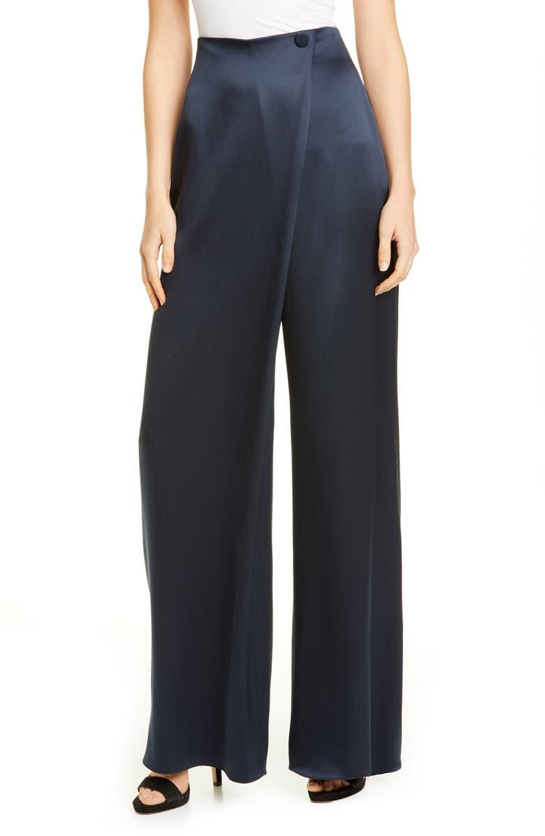 CUSHNIE High Waist Wide Leg Silk Pants, Main, color, NAVY