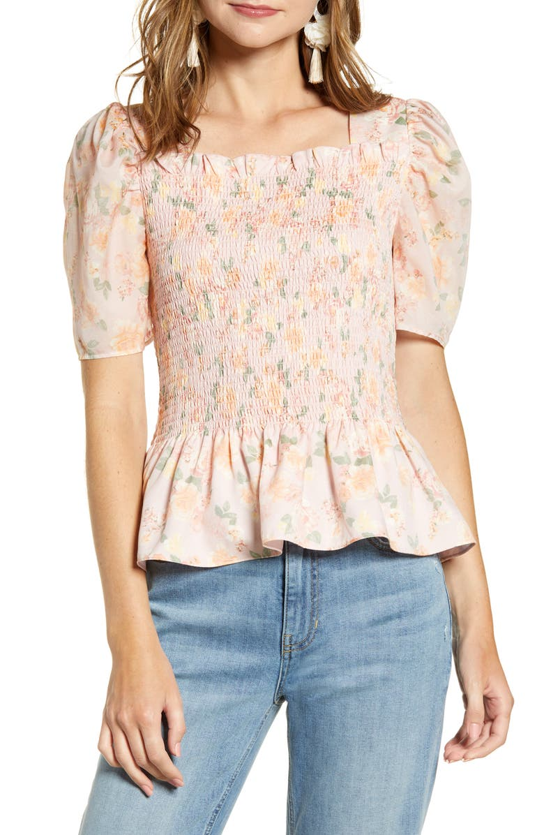 RACHEL PARCELL Square Neck Smock Top, Main, color, MAUVE CHALK RIVIERA FLORAL