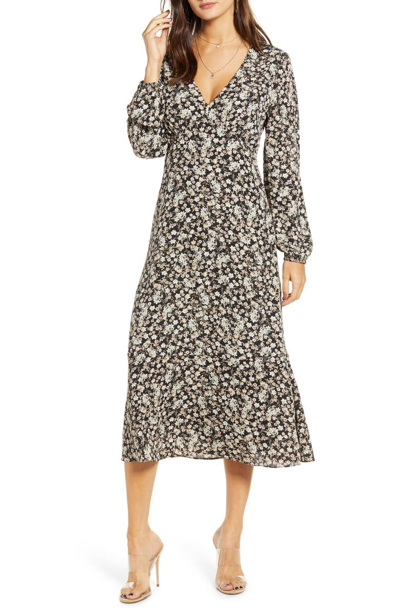ALL IN FAVOR Floral Balloon Sleeve Midi Dress, Main, color, 001