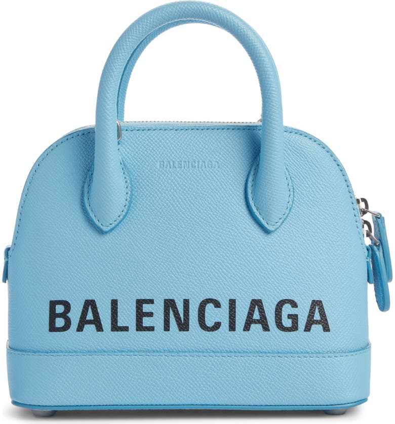 BALENCIAGA Extra Extra Small Ville Logo Leather Crossbody Satchel, Main, color, BABY BLUE/ BLACK