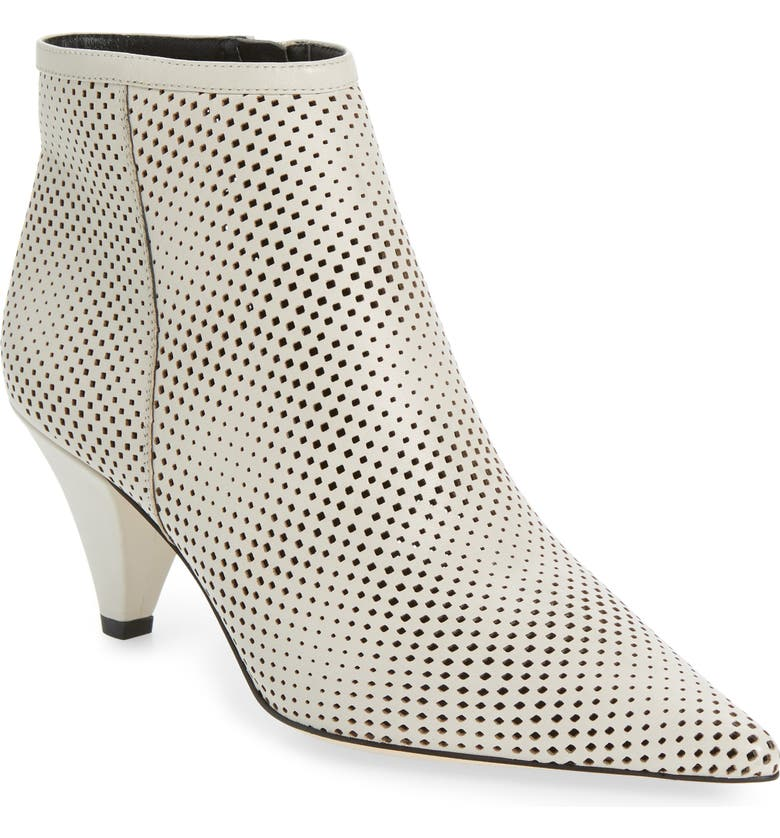 SARTO BY FRANCO SARTO Bobbi Perforated Pointy Toe Bootie, Main, color, PUTTY NAPPA LEATHER