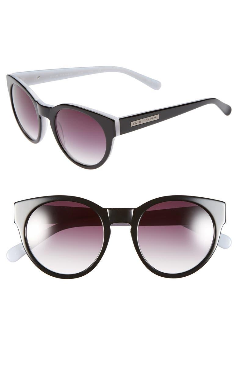 ELIE TAHARI 52mm Retro Sunglasses, Main, color, BLACK/ WHITE