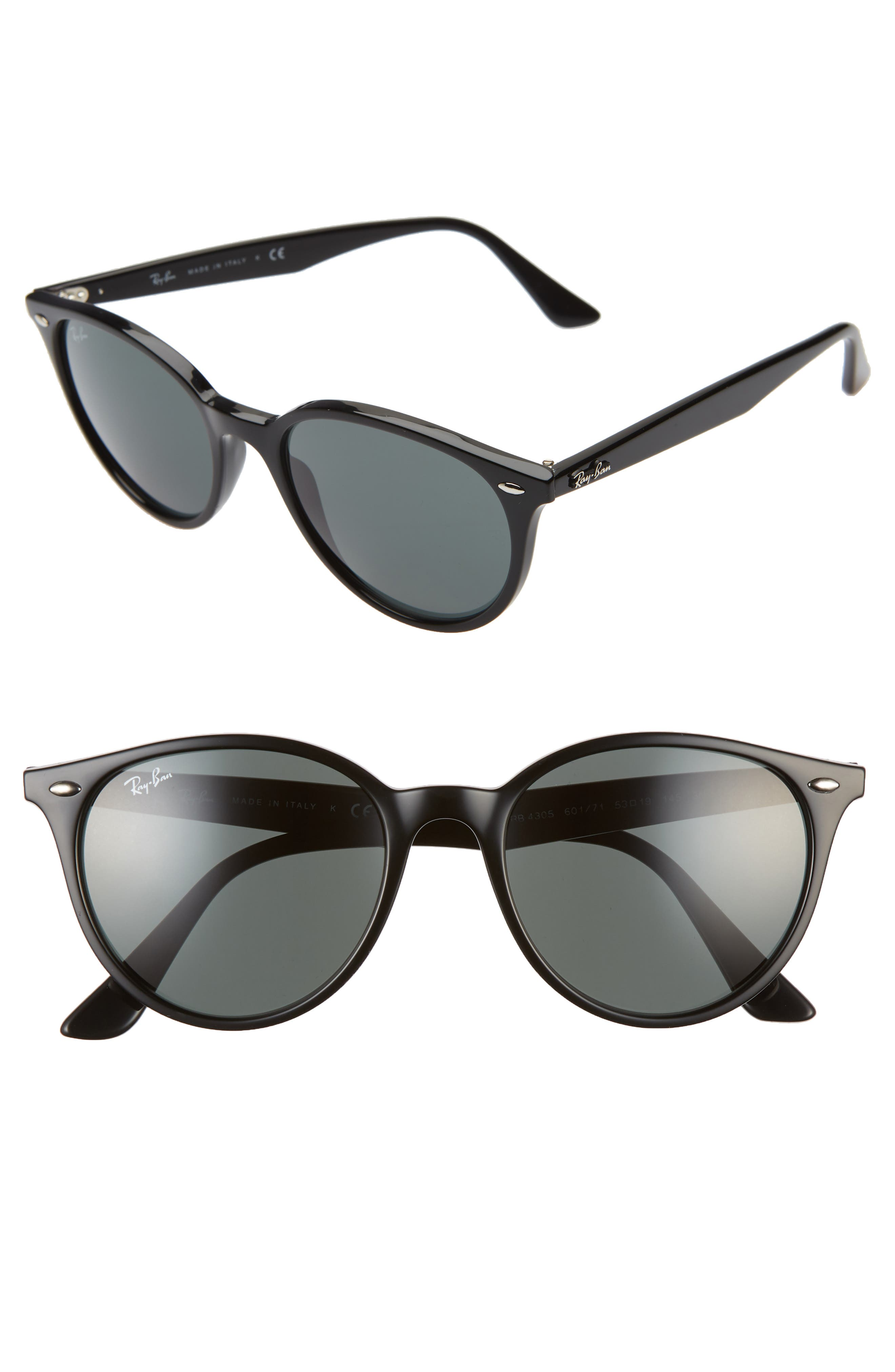 Ray-Ban Phantos 5m Round Sunglasses - Black/ Green Solid