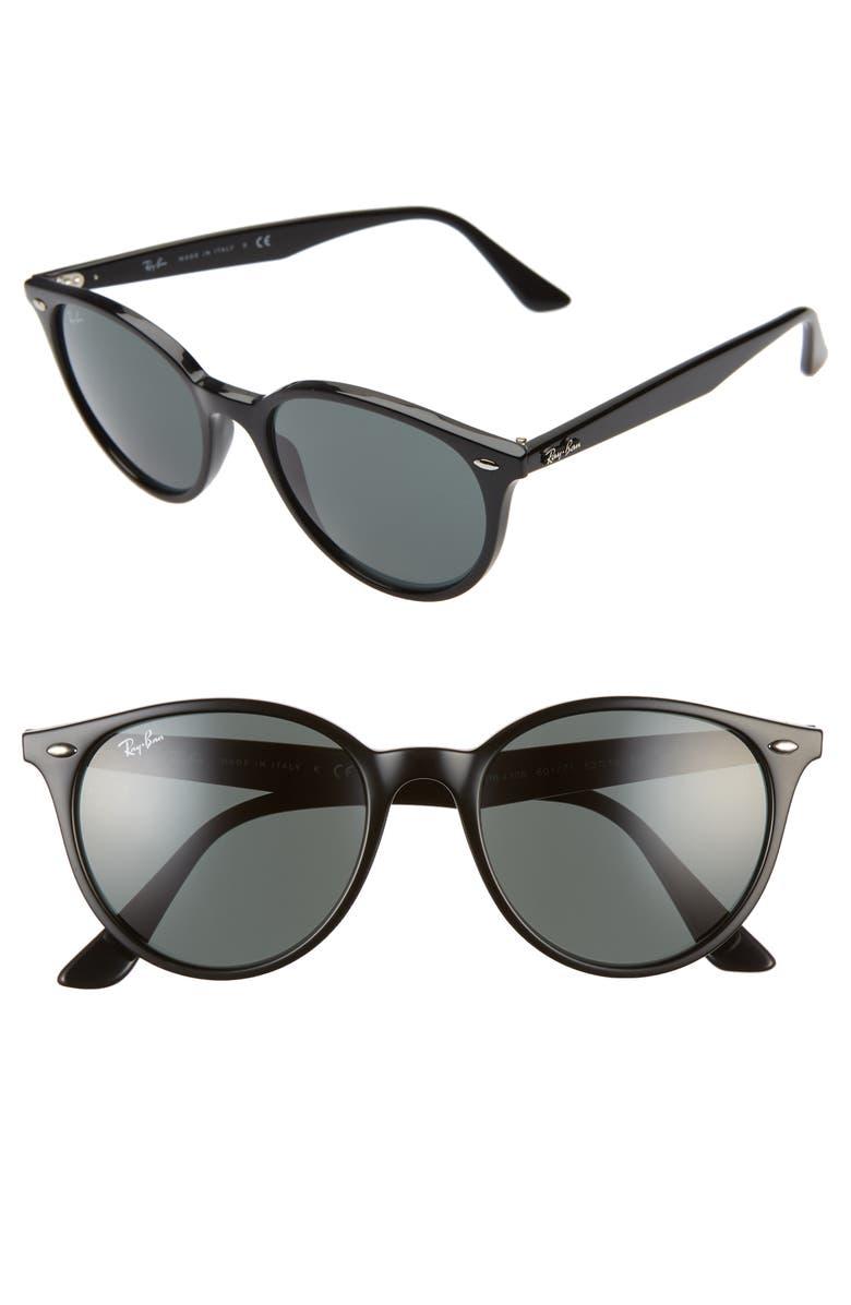 RAY-BAN Phantos 53mm Round Sunglasses, Main, color, BLACK/ GREEN SOLID