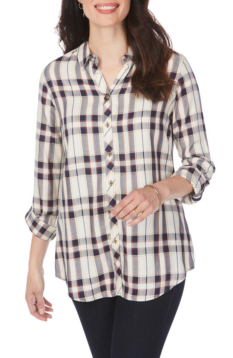 FOXCROFT Zoey Autumn Plaid Wrinkle-Free Shirt, Main, color, NAVY MULTI