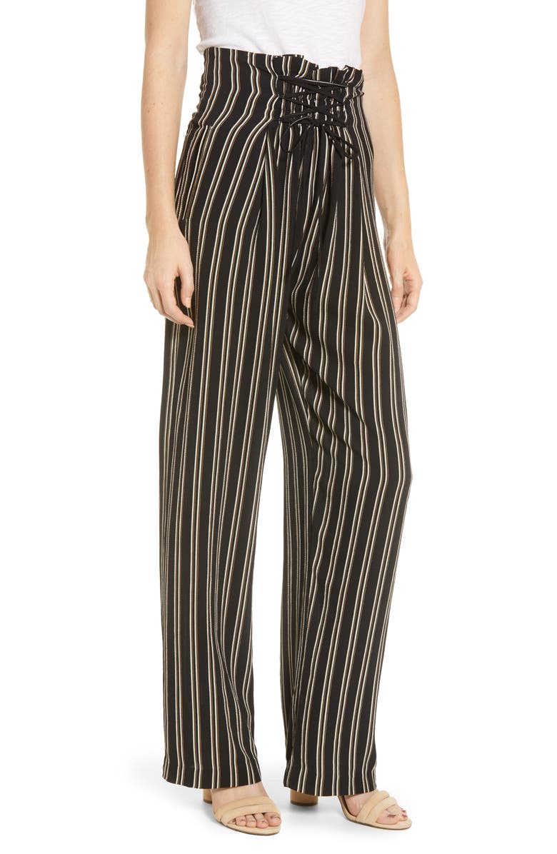 BISHOP + YOUNG Stripe Lace-Up Wide Leg Pants, Main, color, 011