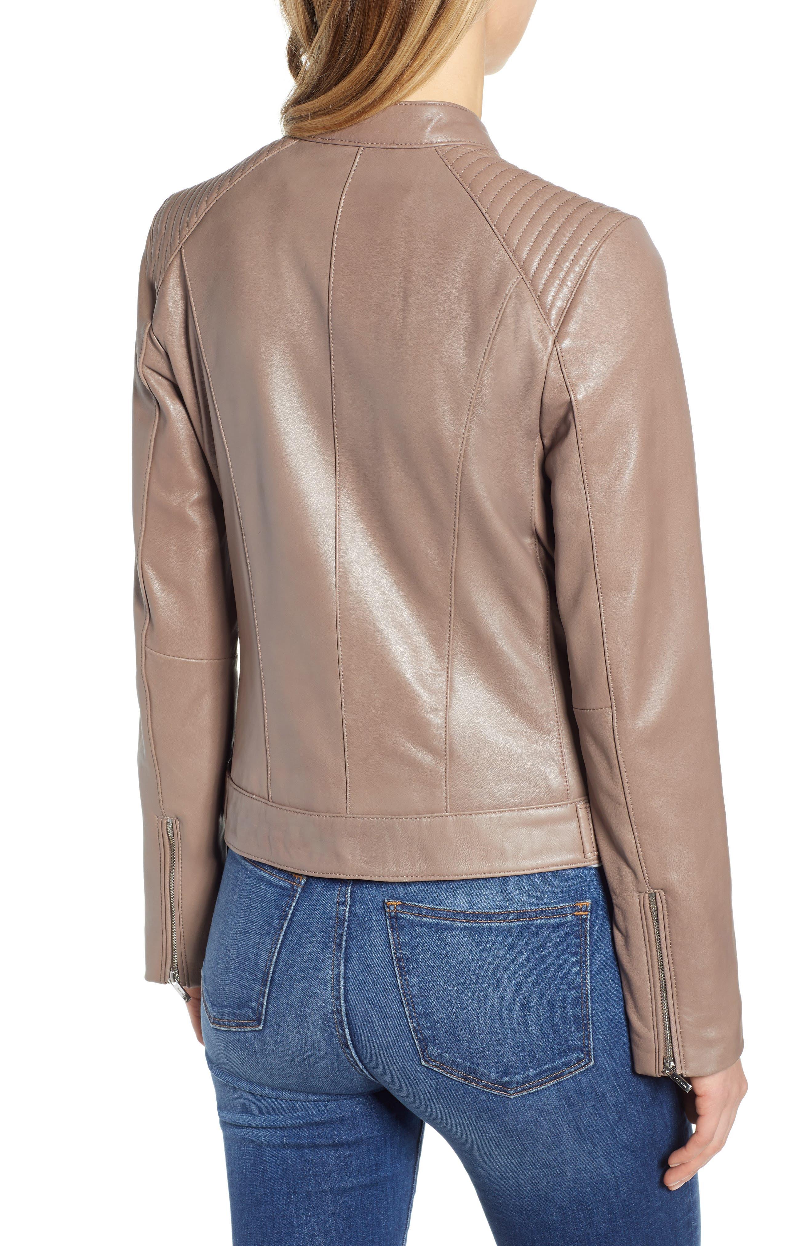 ,                             Leather Moto Jacket,                             Alternate thumbnail 2, color,                             TAUPE